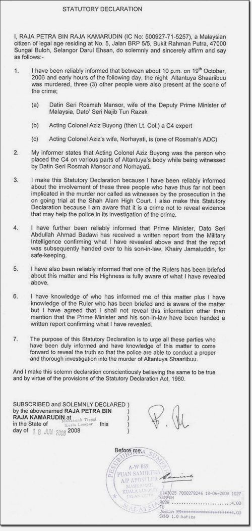 Raja petras statutory declaration selvarajasomiahs weblog this is the statutory declaration of raja petra which is spinning big time by our mainstream papers so now you know how we have been taken for wild rides altavistaventures Choice Image