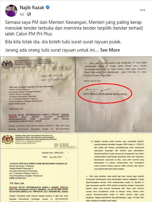 Najib dedah surat Shafie